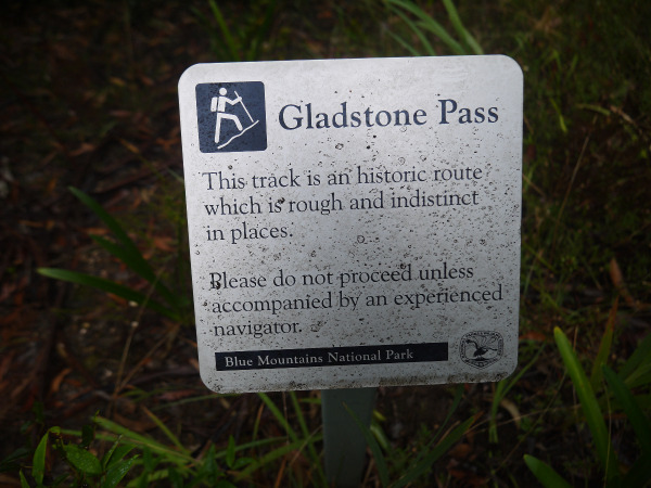 Gladstone Pass warning sign