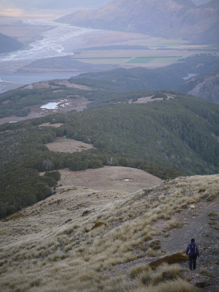 View down Bealey Spur from point 1525